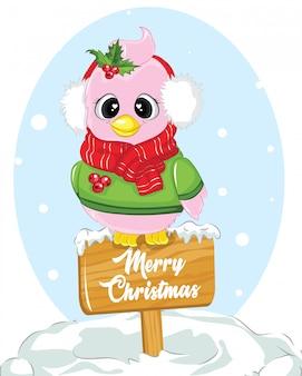 Frohe weihnachten holzschild mit rosa vogel