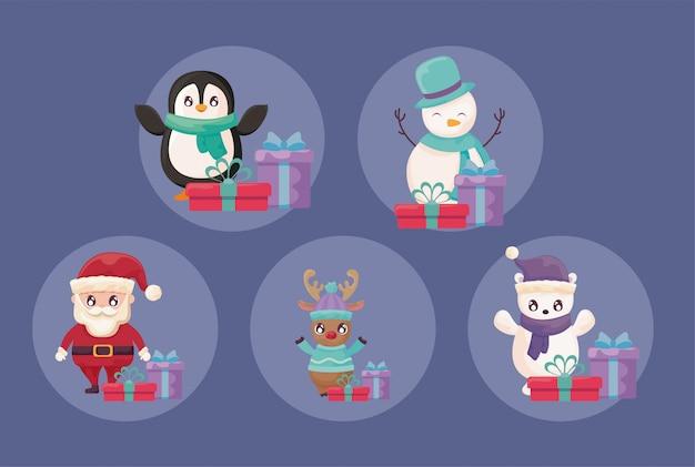 Frohe weihnachten icons set