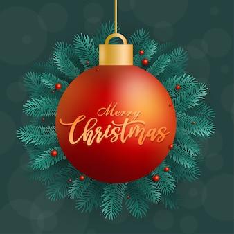 Frohe weihnachten ikone mit ball auf blau