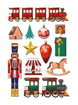 Frohe weihnachten ikone set design