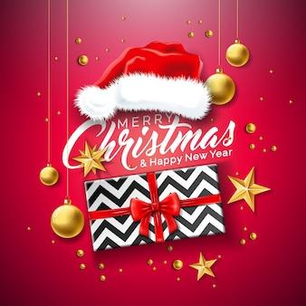 Frohe weihnachten illustration mit geschenkbox und santa hat