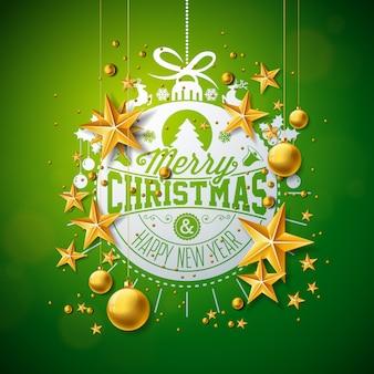 Frohe Weihnachten Illustration mit Gold Glaskugel und Stern