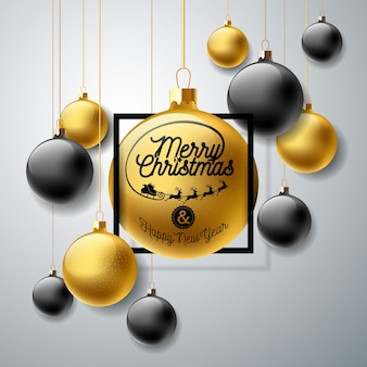 Frohe weihnachten illustration mit gold glaskugel