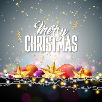Frohe weihnachten illustration mit goldstern und glaskugel