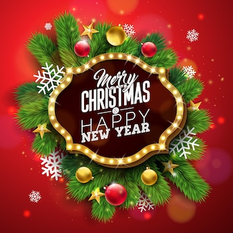 Frohe weihnachten-illustration mit hellem zeichenbrett