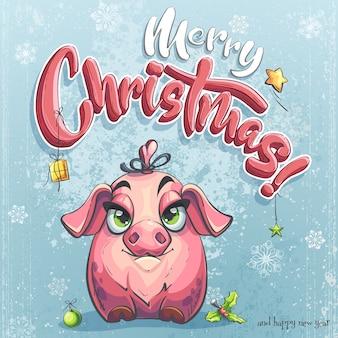 Frohe weihnachten illustration mit kleinen schweinchen