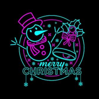 Frohe weihnachten illustration mit neonfarbe