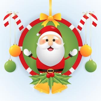Frohe weihnachten illustration mit niedlichen weihnachtsmann