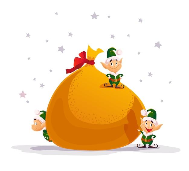 Frohe weihnachten illustration mit weihnachtsmann elfen und große geschenktüte