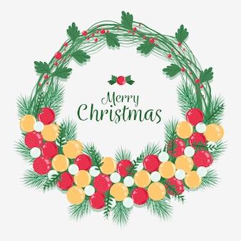 Frohe weihnachten im kranz