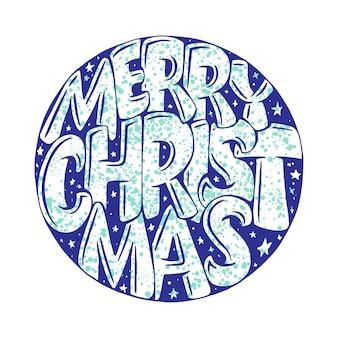Frohe weihnachten im kreis lokalisiert auf weißem hintergrund