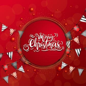 Frohe weihnachten im kreis mit einem bunten dreiecksband