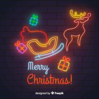 Frohe weihnachten im neonstil