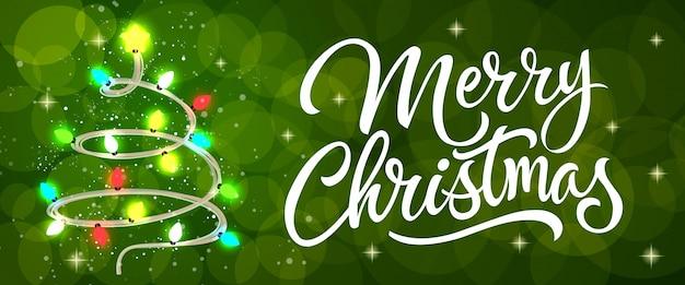Frohe weihnachten kalligraphie mit lichterketten