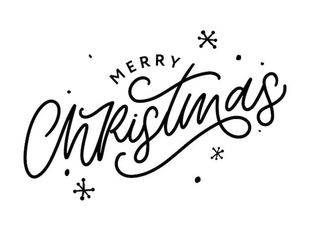 Frohe weihnachten kalligraphie schwarzer text. handgeschriebene moderne pinselschrift