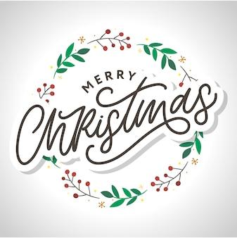 Frohe weihnachten kalligraphie schwarzes textwort. handgeschriebene moderne pinselschrift