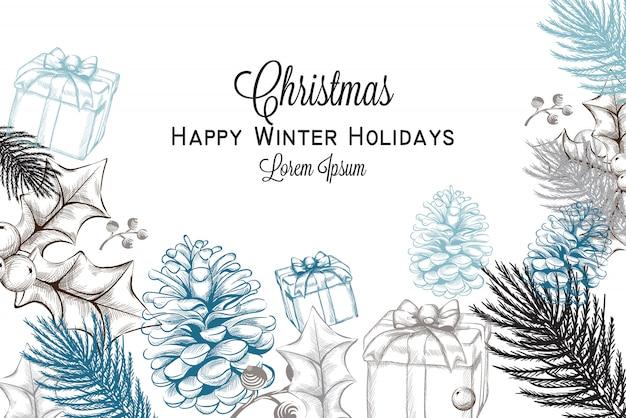 Frohe weihnachten karte lineart