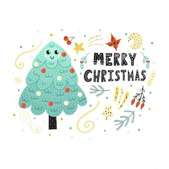 Frohe weihnachten-karte mit einem niedlichen baum. lustiger feiertagsdruck