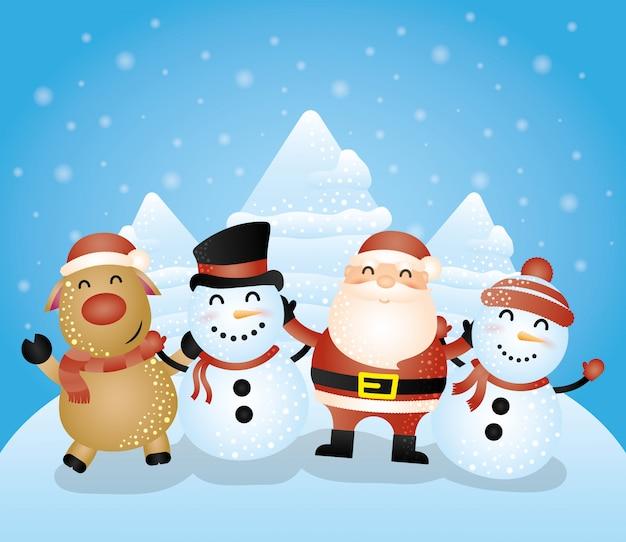 Frohe weihnachten-karte mit einer gruppe von zeichen