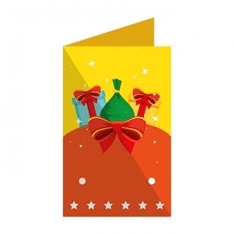 Frohe weihnachten-karte mit geschenk