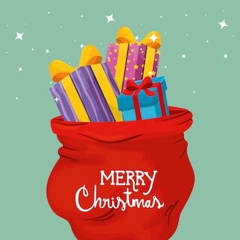 Frohe weihnachten-karte mit geschenkboxen und taschen präsentiert
