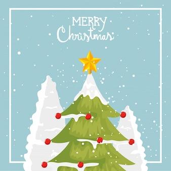 Frohe weihnachten-karte mit kiefer
