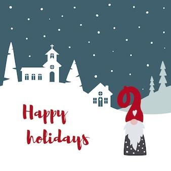 Frohe weihnachten karte mit niedlichen skandinavischen gnome tomte