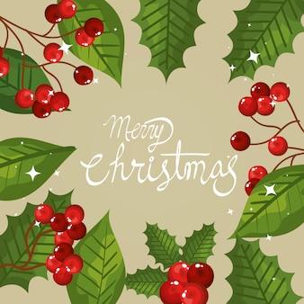 Frohe weihnachten-karte mit rahmen von blättern und samen