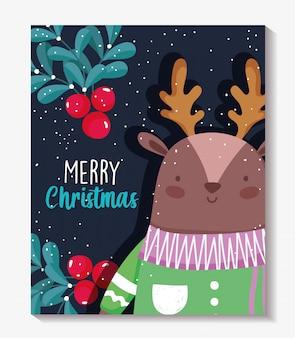 Frohe weihnachten-karte mit rentier mit pullover und holly berry