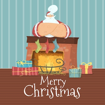 Frohe weihnachten-karte mit santa claus im kostüm