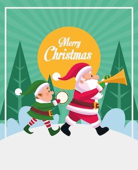 Frohe weihnachten-karte mit santa claus und elf spielen instrumente vektor-illustration