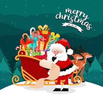 Frohe weihnachten karte mit santa muss einen schlitten fahren.