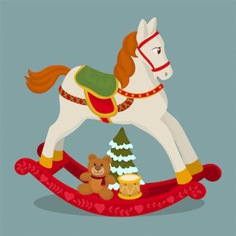 Frohe weihnachten-karte mit schaukelpferd