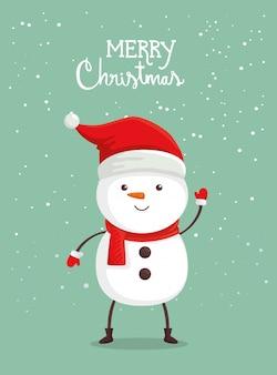 Frohe weihnachten-karte mit schneemann