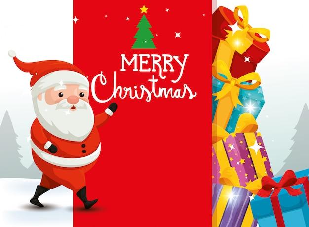 Frohe weihnachten-karte mit weihnachtsmann und dekoration