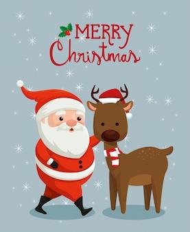 Frohe weihnachten-karte mit weihnachtsmann und rentier