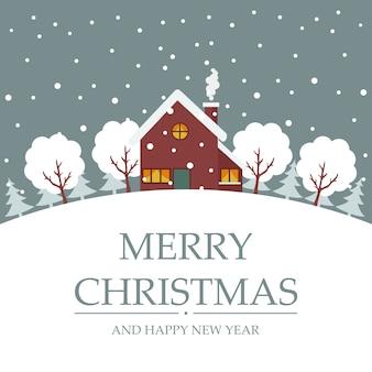Frohe weihnachten karte von bäumen und haus im schnee