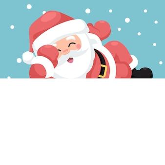 Frohe weihnachten karte von santa claus glücklich liegen