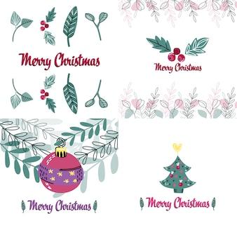 Frohe weihnachten karten in einem stil.
