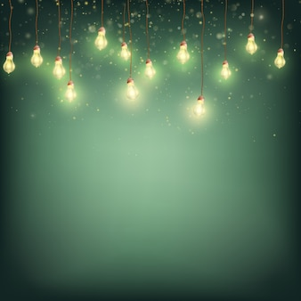 Frohe weihnachten karten-konzept - glowing lights garland.
