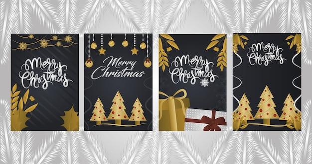 Frohe weihnachten, kartensatz mit geschenken und bällen der goldenen bäume