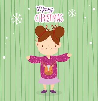 Frohe weihnachten kleines mädchen mit hässlichen pullover und schnee