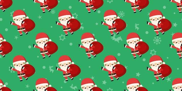 Frohe weihnachten, kleines weihnachtsmann-nahtloses muster.