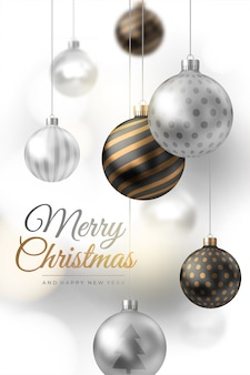 Frohe weihnachten komposition aus silber und gold weihnachtskugeln