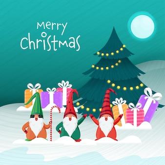 Frohe weihnachten-konzept mit dekorativem weihnachtsbaum, geschenkboxen, gnome-figuren auf vollmond-schnee-türkis-hintergrund.