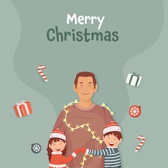 Frohe weihnachten-konzept mit kindern, die ihren vater umarmen, girlande, kugeln, zuckerstange und geschenkboxen auf blaugrünem hintergrund beleuchten.