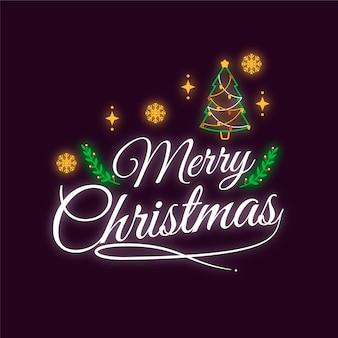 Frohe weihnachten-konzept mit neon-design