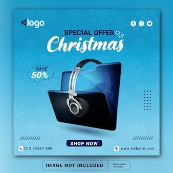 Frohe weihnachten-kopfhörer-markenprodukt-social-media-banner-design-vorlage oder quadratischer flyer