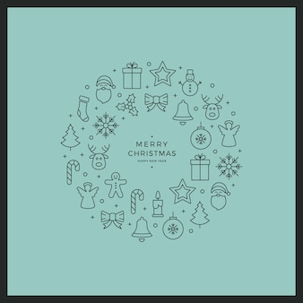 Frohe weihnachten kreis linie symbole karte grüner hintergrund
