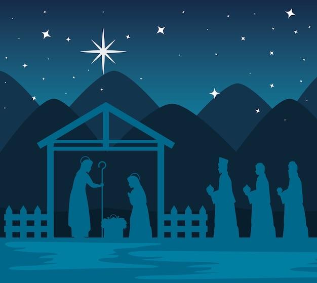 Frohe weihnachten krippe mary joseph baby und drei weise männer design, wintersaison und dekoration